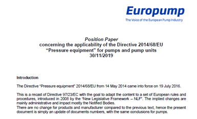 Position Paper on the Pressure Equipment Directive